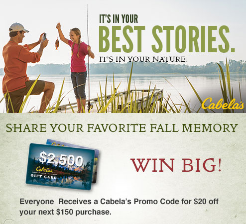 Enter to Win a $2500 Gift Card from Cabela\
