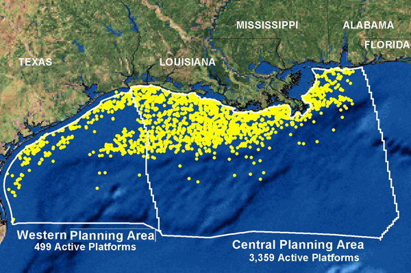 Above, a map of active oil rigs along the Gulf Coast.