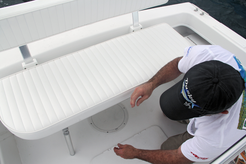 Dusky 227 - Fold up the two feet on the stern bench seat to position ...