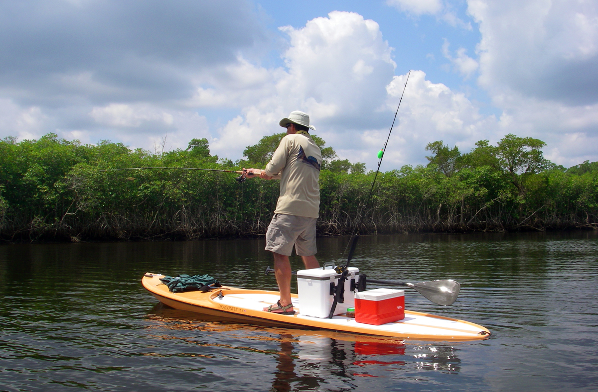 Paddleboard fishing florida sportsman for Inflatable fishing paddle board