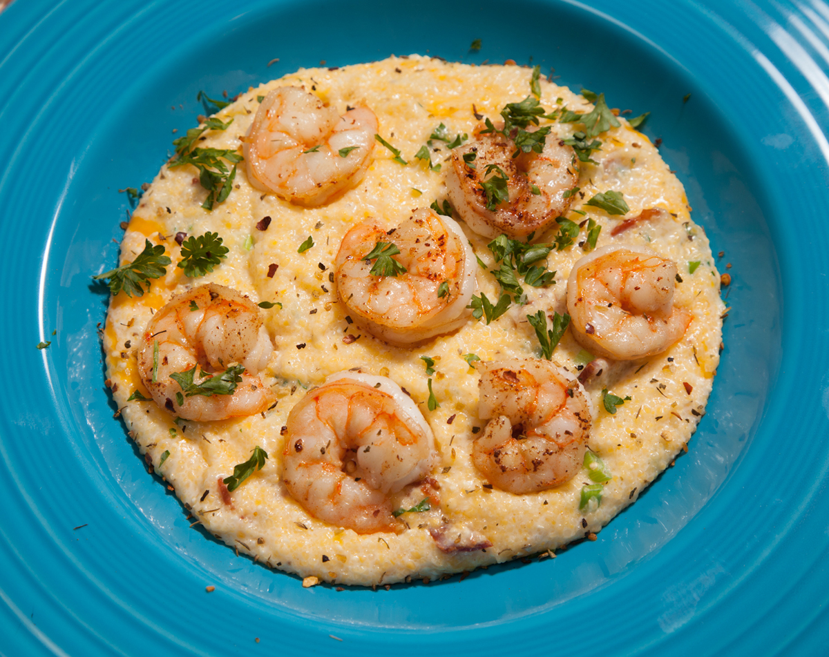 ... , rich and with a taste of the sea: shrimp and true Southern grits