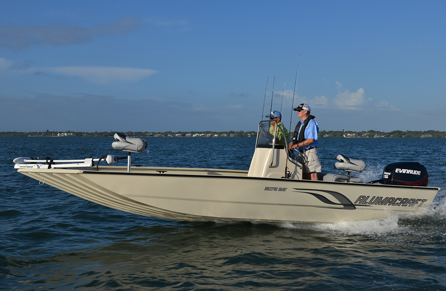An aluminum boat builder that has been in the industry since the forties is  Alumacraft. The Bay Series 2072 is 20 feet long and 7 feet, 10 inches wide.