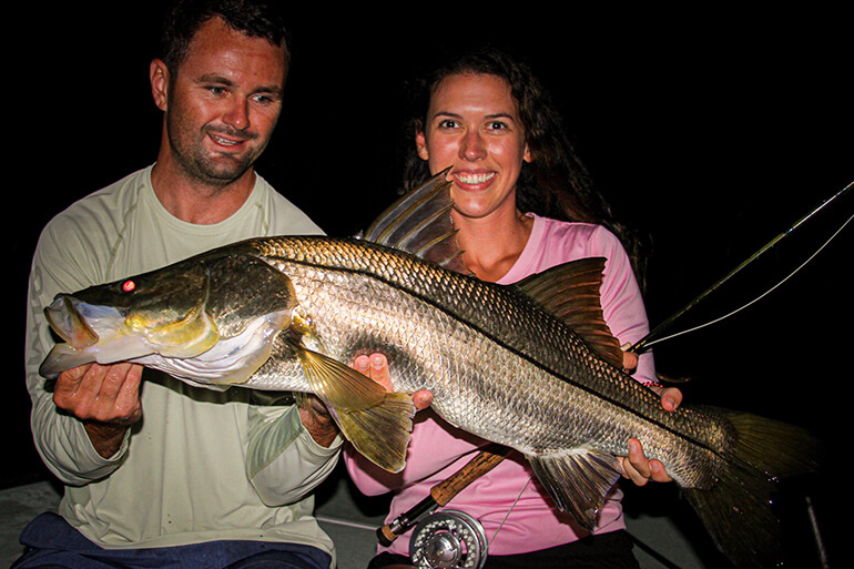 big snook while docklight fishing