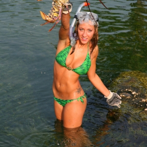 Natalie with a nice Lobster